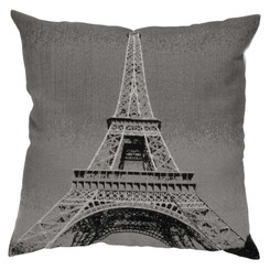 Paris Eiffel Tower set of 2 pillows dark grey