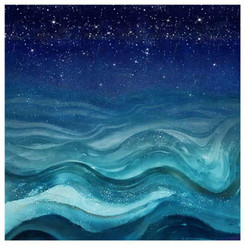 Large Giftopolis Canvas art - blue waves