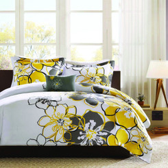 Bloom 4pc comforter set in yellow and grey- Giftopolis.ca