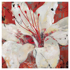 Giftopolis Canada White Lily on Red background, square large canvas print