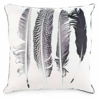 Black and white feather motif cushion throw pillow canada