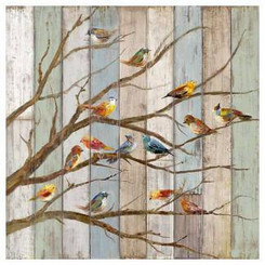 Birds on branches canvas wall art 23 by 23 inches
