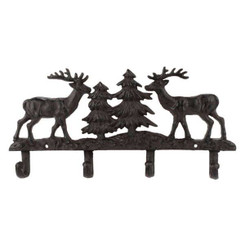 Brown Metal Deer and Tree 4 Wall Hook