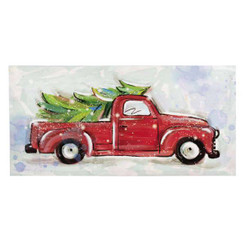 Christmas Tree in Red Truck LED Wall Art
