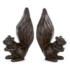 Brown Metal Squirrel Book Ends