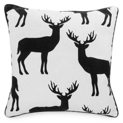 Black Deers on White Throw Pillow
