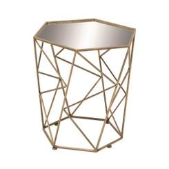 Geinger Antique Gold Geometric Accent Table