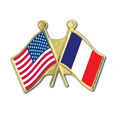 US France Crossed Flags Pin