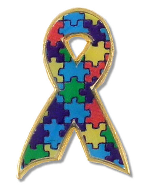 Autism Puzzle Ribbon Lapel Pin