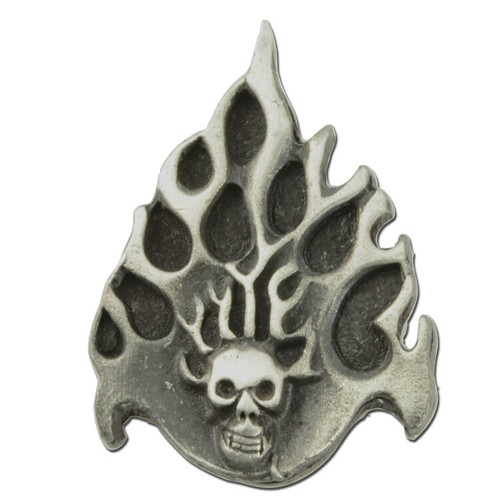 Skull with Flames Pin