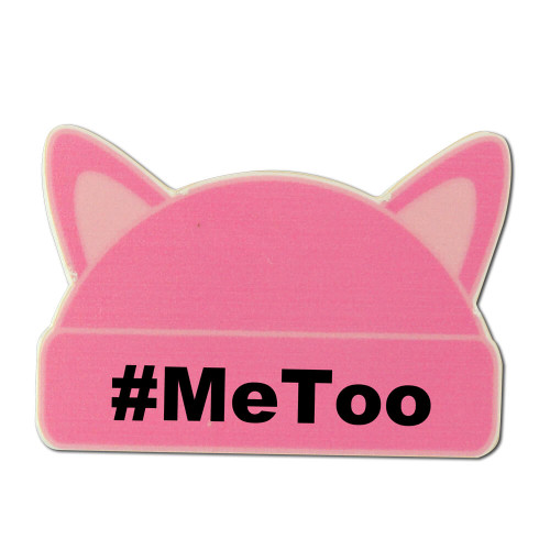 Large Pink Cat Ear Hat Shaped Lapel Pin with #MeToo - MagnetBack