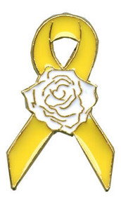 Yellow Ribbon Rose Lapel Pin