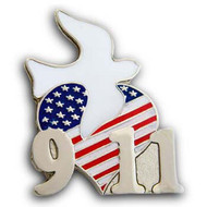 911 Dove Heart Flag Pin
