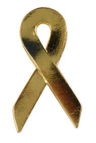 Gold Ribbon Lapel Pin