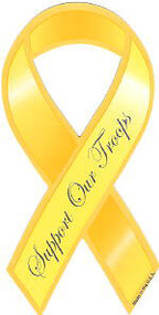 Yellow Support Our Troops Car Ribbon Magnet