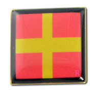 Nautical Code Flag R - Romeo - Lapel Pin