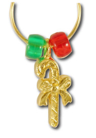 Candy Cane Wine Charm - Single