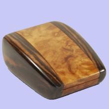 Montana Burl and Ebony Ring Box. Handmade Australia.
