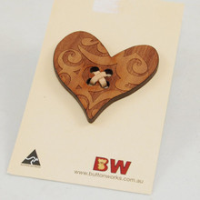 Wooden Heart Shaped Brooch Pin