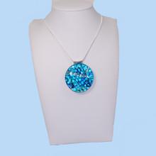 Deep Blue Dichroic Glass Pendant