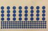 Laser cut out blue painters tape shapes