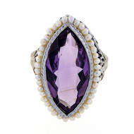 Antique Art Deco Filigree 6.00ct Marquise Amethyst Pearl Ring
