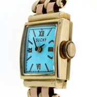 Retro Art Deco 14k Pink & Green Gold Watch Ice Blue Dial