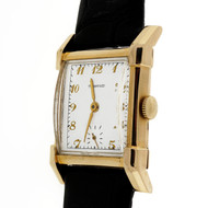 Art Deco 1940's Longines Manual Wind 14k Yellow Gold Watch White Tiffany Dial