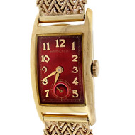 Art Deco Curved Hamilton 14k Yellow Gold Custom Colored Red Dial Mesh Band Watch
