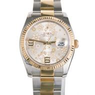 Rolex New Style 116233 18k Steel Watch Flower Dial Solid Lugs