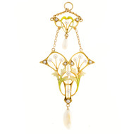 Art Nouveau Victorian 14k Gold Enamel Natural Fresh and Salt Water Pearl Pendant