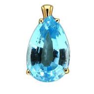 Vintage Pear Shape 8.0ct Bright Vivid Sky Blue Topaz 14k Solitaire Pendant