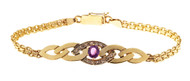 Estate .65ct Pink Tourmaline Diamond 14k Gold Swirl Design Bismark Bracelet