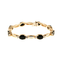 Estate 14k Yellow Gold 8 Jet Black Oval Onyx And 16 Round Diamond Bracelet