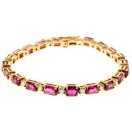 Vintage Deco 21 Emerald Cut Ruby 11.85ct 18k Yellow Gold Diamond Bracelet