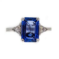 Vintage 2.30ct Emerald Cut Sapphire Engagement Ring Diamond Sides 14k White Gold