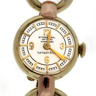 Retro Art Deco Tiffany Ladies IWC International Watch Co. 14k Pink Green Watch