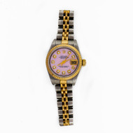 Ladies Rolex Datejust 69173 Custom Color Redone Pink Mother Of Pearl 18k Steel