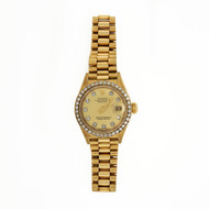 Ladies Original Rolex Presidential 69138 18k Gold Diamond Dial & Bezel Watch