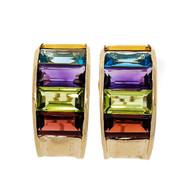 Emerald Cut 15.00ct Multicolor Semi Precious 14k Yellow Gold Hoop Earrings