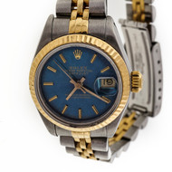 Ladies Rolex 69173 18k Steel Datejust Refinished Teal Blue Dial