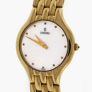 Ladies Concord Mother Of Pearl 5 Row 14k Gold Panther Wrist Watch