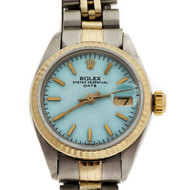 Ladies Gold & Steel Rolex Date 6916 Custom Color Turquoise Blue Dial Wrist Watch