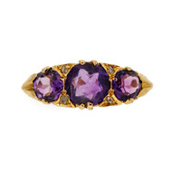 3 Amethyst 9k Pink Gold .80ct Rose Cut Diamond Ring