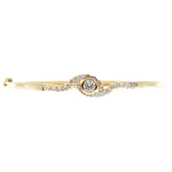 Estate Swirl Design Solid 14k Yellow Gold Full Cut Diamond Bangle Bracelet