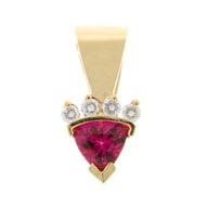 Estate 14k Yellow Gold Hot Pink Trillion Cut Tourmaline Hinged Pendant Slide