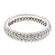 Domed 3 Row Solid 14k White Gold 117 Full Cut Diamond Size9 Eternity Ring 1.50ct