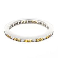 Estate 14k Round Yellow Sapphire Diamond Eternity Ring Channel Set Wedding Band