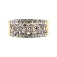 Estate 1965 14k Pierced White Gold 42 Round Diamond Pave Set Band Ring Size 5.75