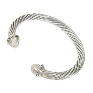 Vintage Designer David Yurman 7mm Silver 18k Full Cut Diamond Bangle Bracelet